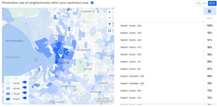 Mapa que muestra la zone de influencia exacta de una tienda en Madrid