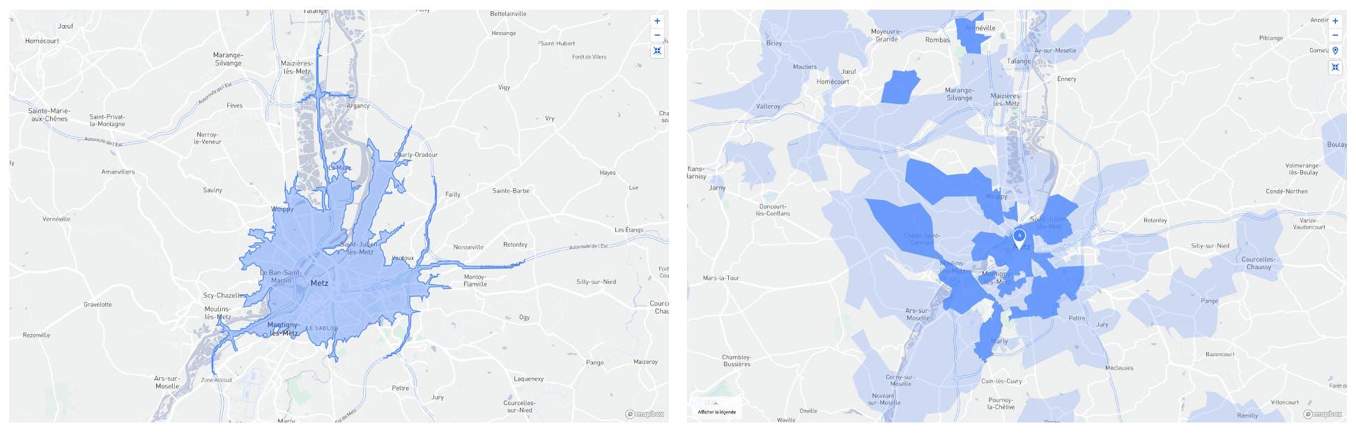 Deux images présentant la zone de chalandise de Metz centre avec la méthode isochrone et la méthode données de gps.