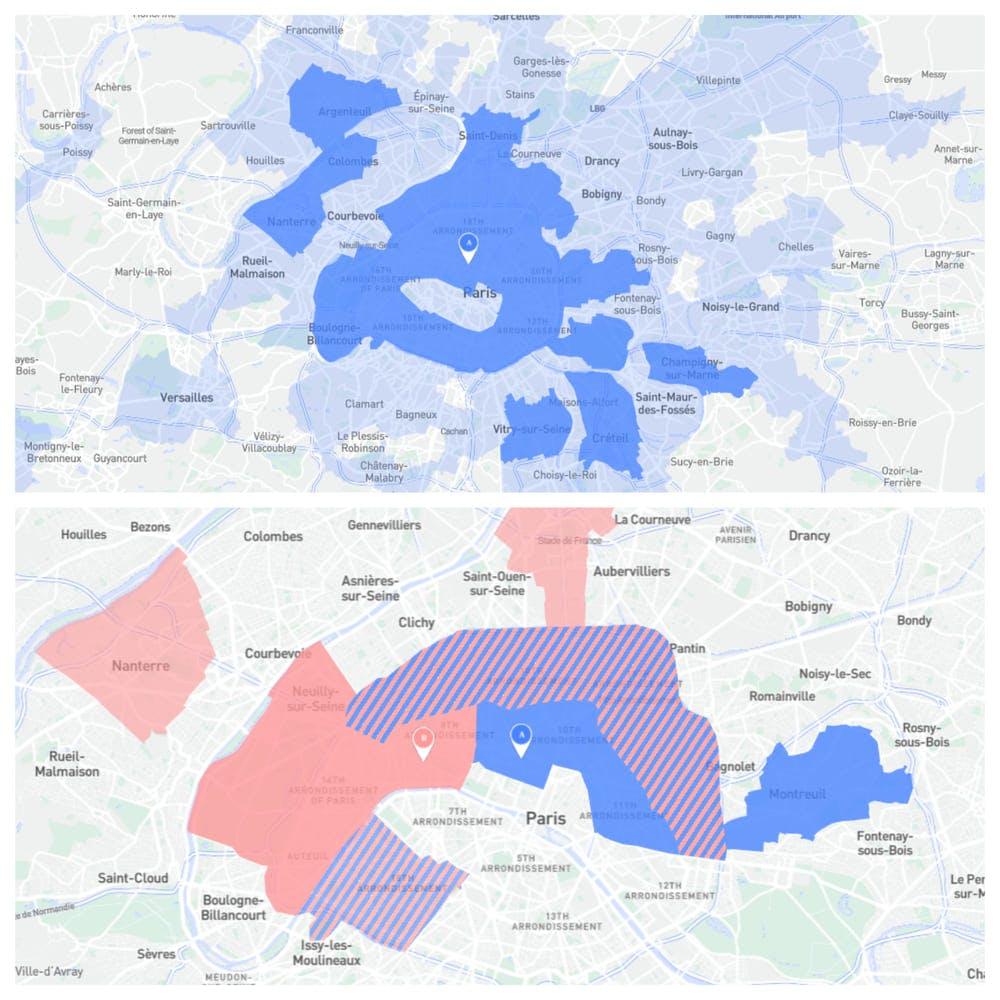 Comparaison zones de chalandises  grands boulevards et champs elysées