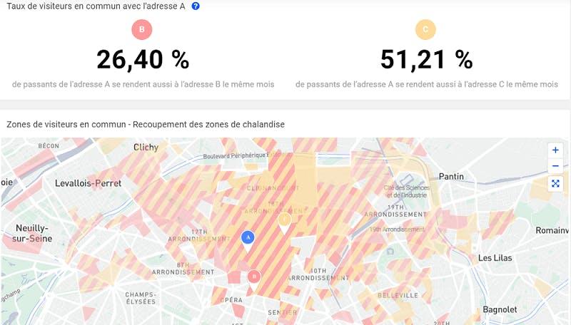 Carte montrant la cannibalisation entre trois adresses à paris en Décembre
