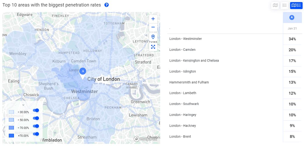 Map showing accurate catchment area for an adress in London