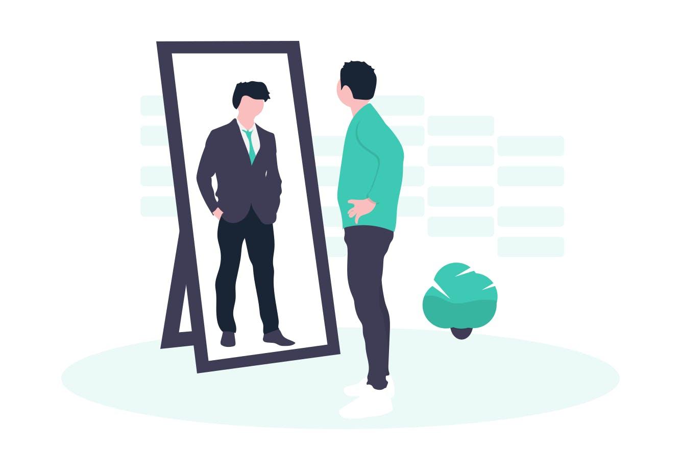 Mann sieht sich selbst im Spiegel. Das Spiegelbild strahlt Erfolg und eine erfolgreiche Karriere aus.