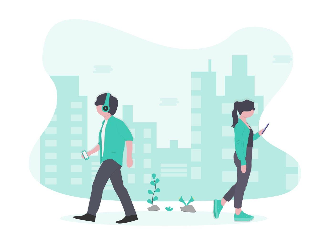 Junger Mann und junge Frau in einer modernen Stadt.