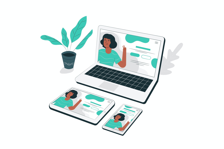 Webseite: Laptop, Tablet und Mobile.