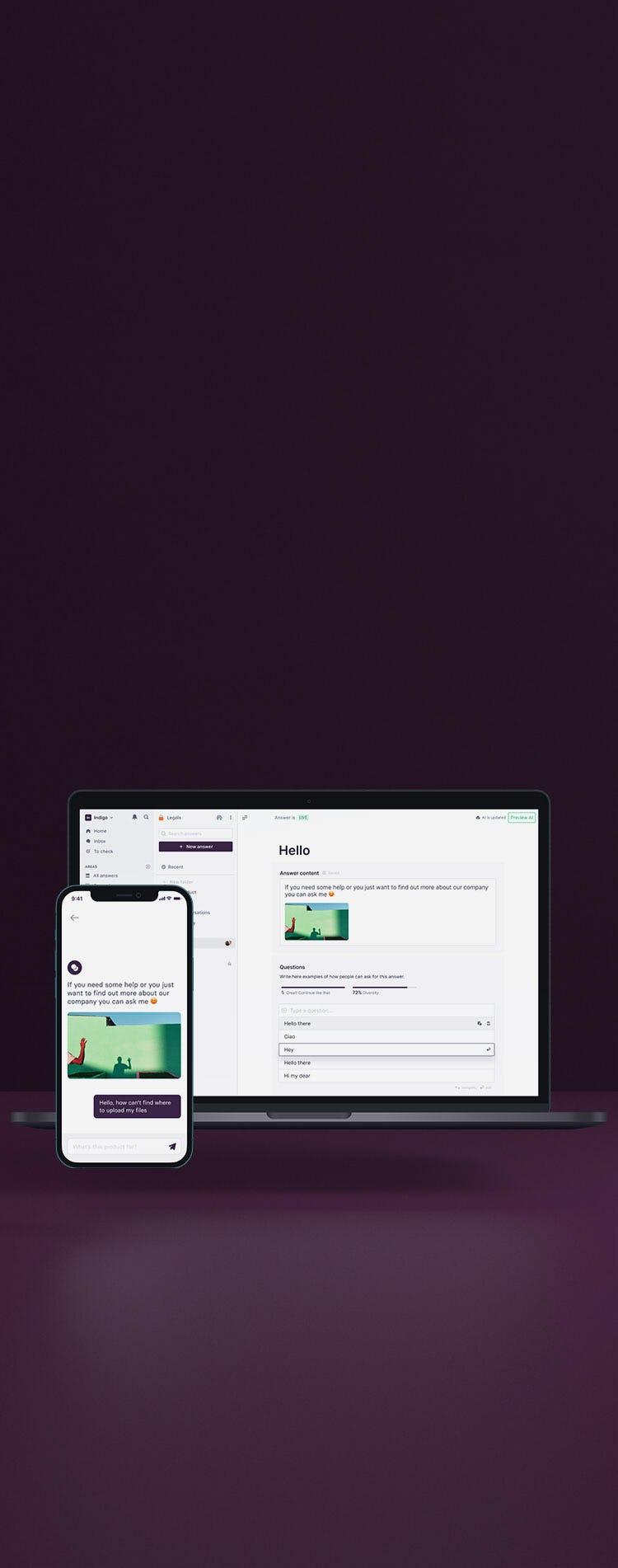 Platform preview on mobile and on desktop