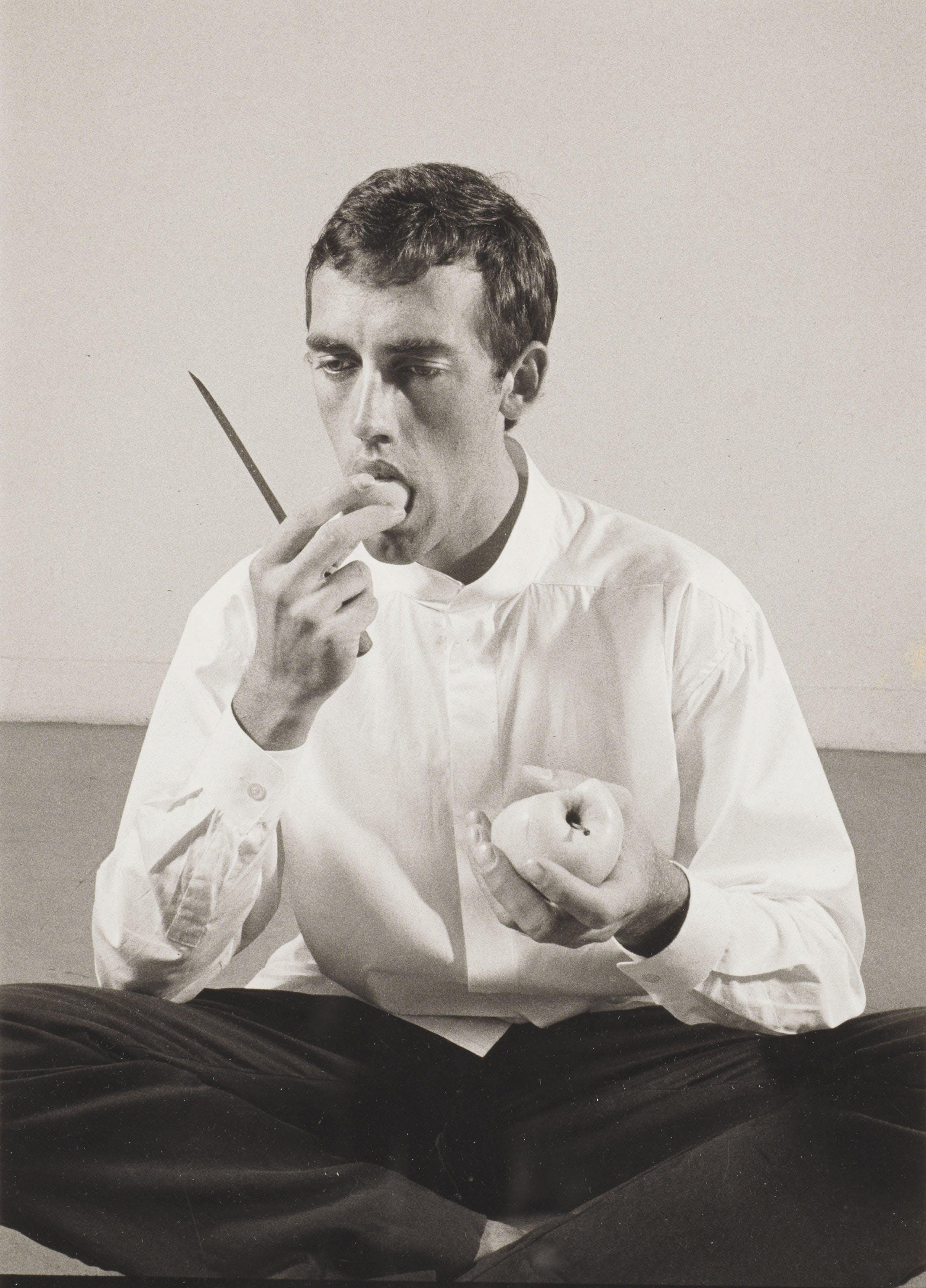 """Peter Hujar, """"Forbidden Fruit (David Wojnarowicz Eating an Apple),"""" New York, 1983"""