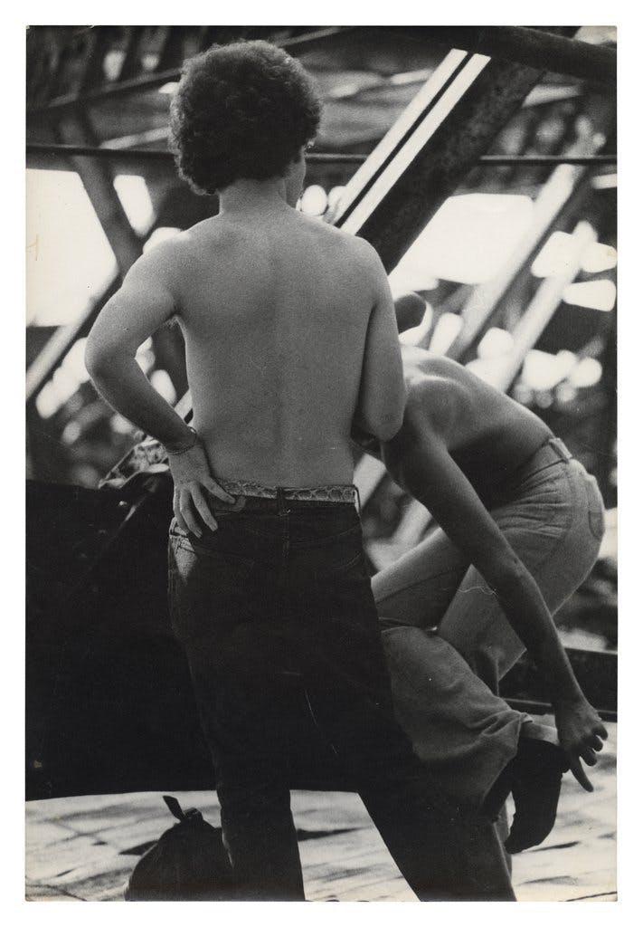 "Alvin Baltrop, ""Two Men in Wreckage,"" West Side Piers, New York, c. 1980"