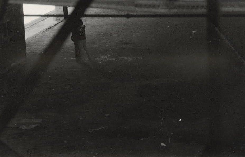 "Alvin Baltrop, ""Two Figures Embracing in Warehouse,"" New York, c. 1980"