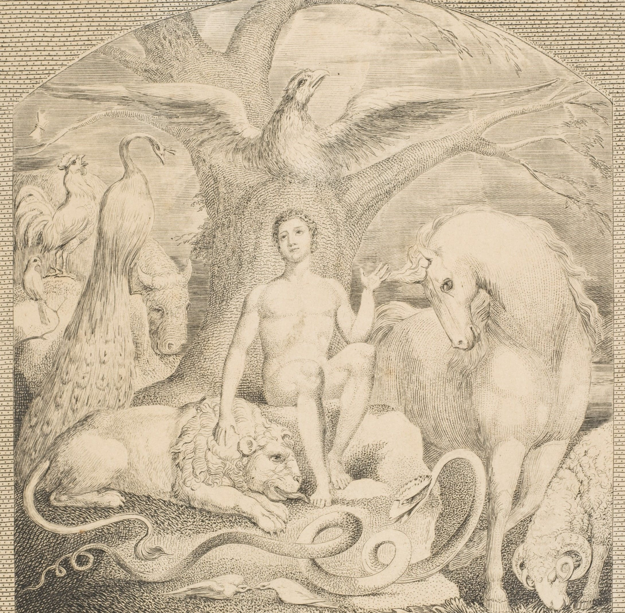 "William Blake, ""Adam and the Beasts,"" England, 1802"