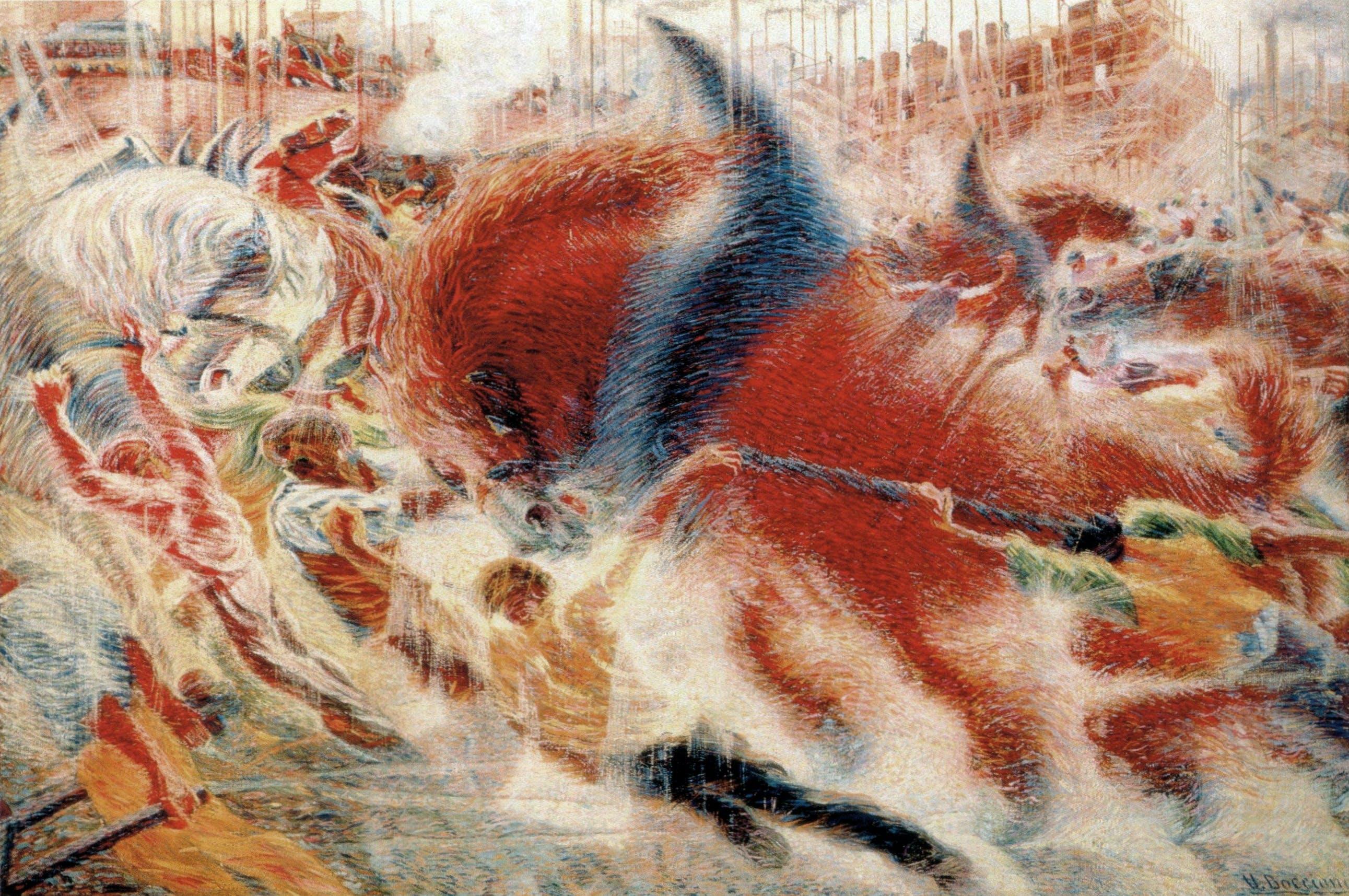 "Umberto Boccioni, ""The City Rises,"" Milan, 1910"
