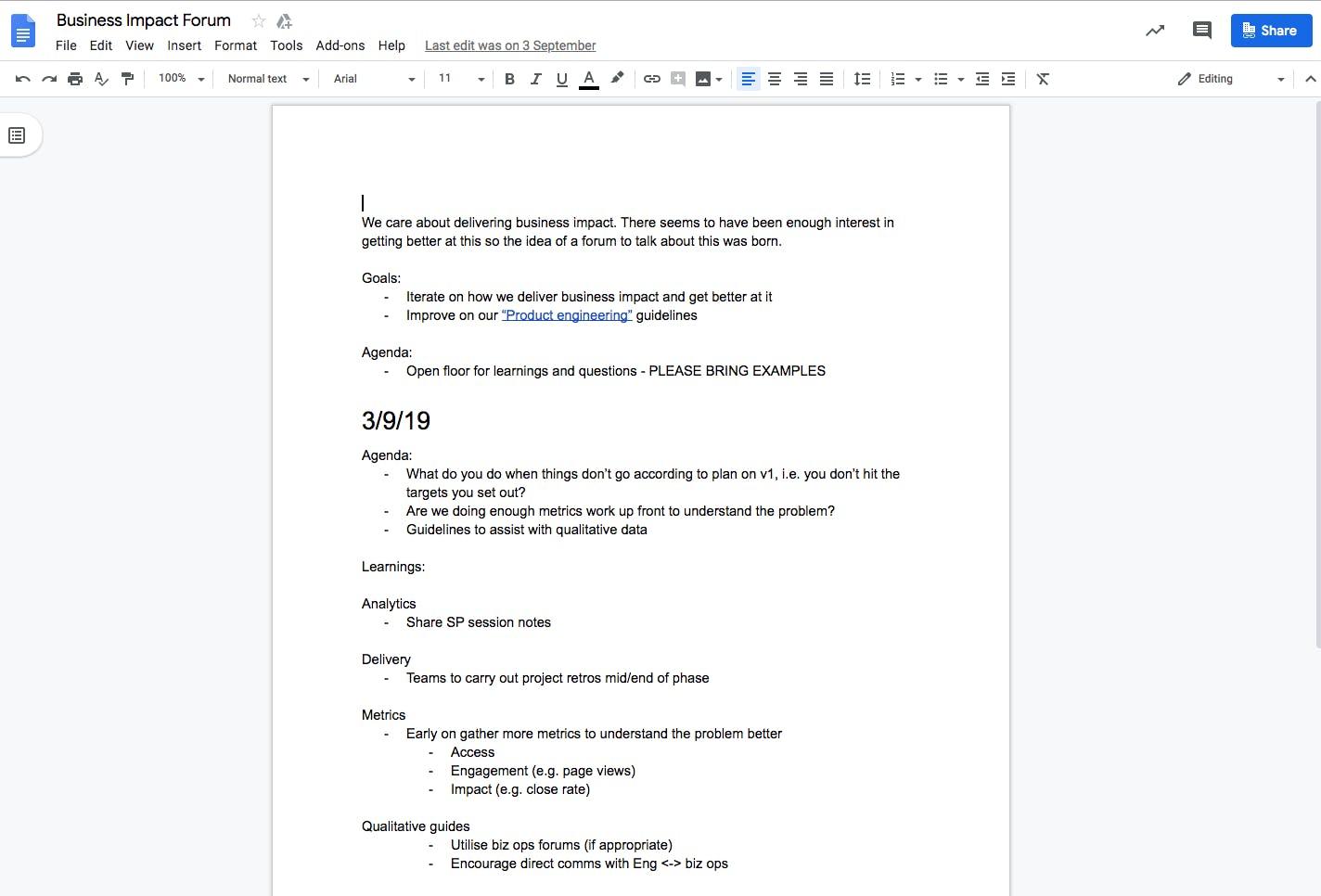 Impact forum notes