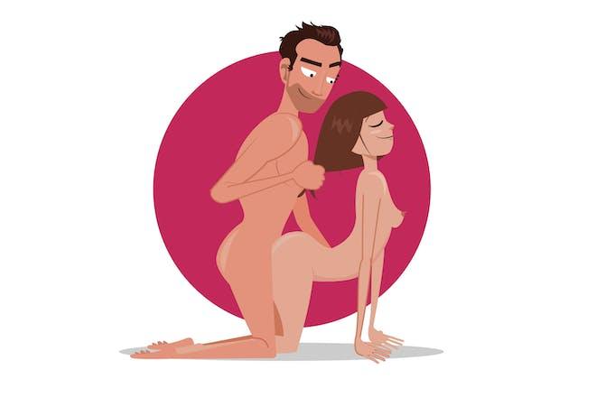 Naked man and woman, man pulling woman's hair