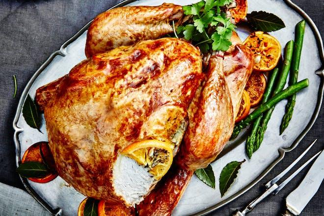 Christmas roast turkey with orange butter