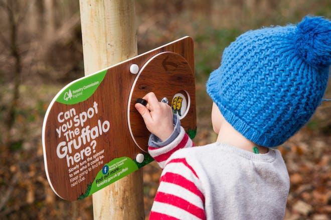 child on Jeskyns Gruffalo Spotters Trail