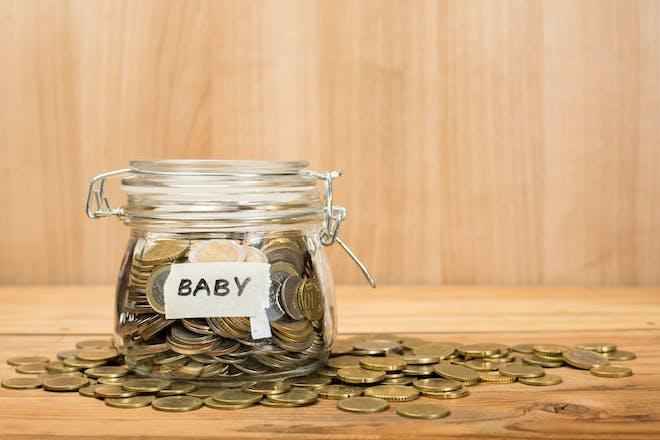baby fund money in a jar