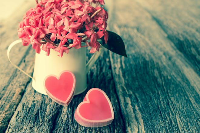 flowers in can and hearts