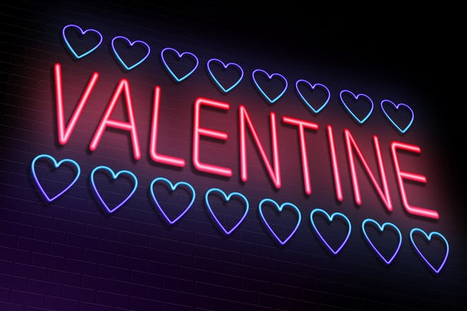 neon letters spelling out valentine