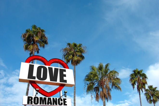 love sign with palm trees