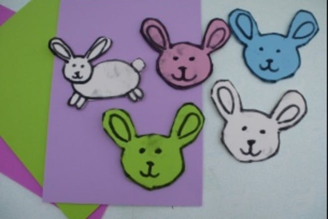 easter rabbits and lambs to stick to card easter bonnet