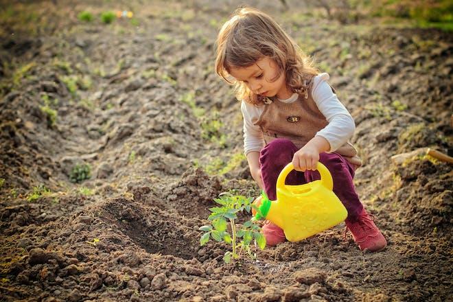 child in garden watering plant