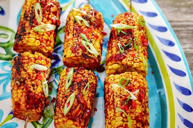 Oriental sweetcorn skewers