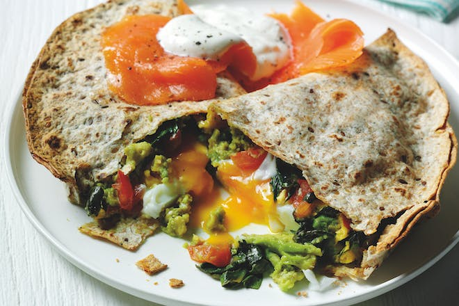 Avocado and egg quesadilla with smoked salmon