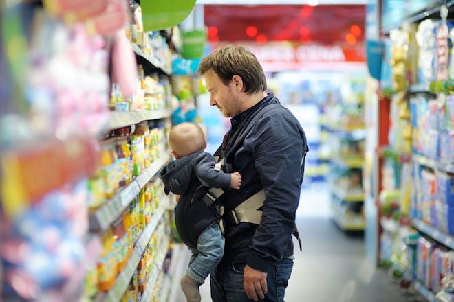 Dad at supermarket
