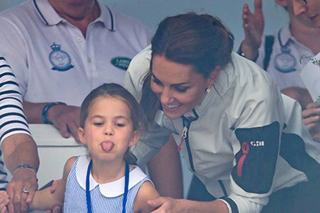 Princess Charlotte sticking her tongue out