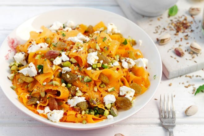 Carrot, Feta and pistachio salad