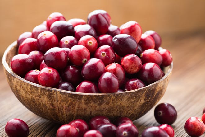 A bowl of cranberries to illustrate the size of your baby at 8 weeks pregnant