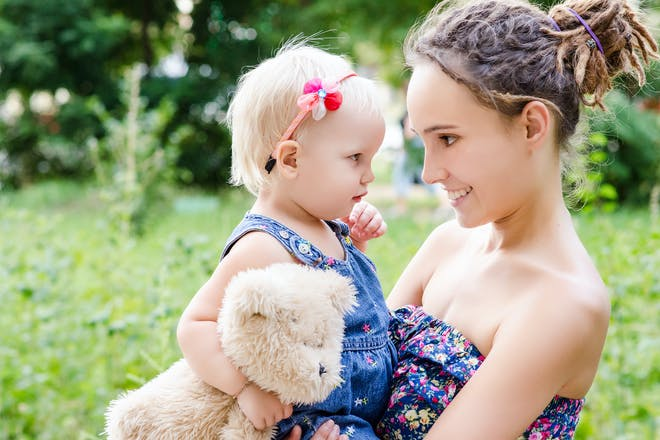 young mum with daughter