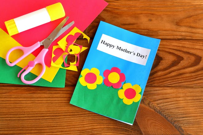 Handmade Mother's Day card with scissors and glue