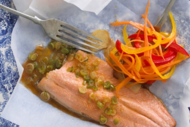 93. Bag-baked trout with ginger soy