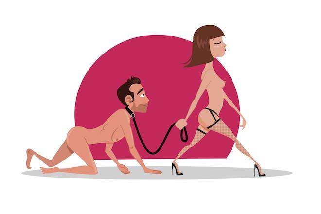 woman walking man like a dog