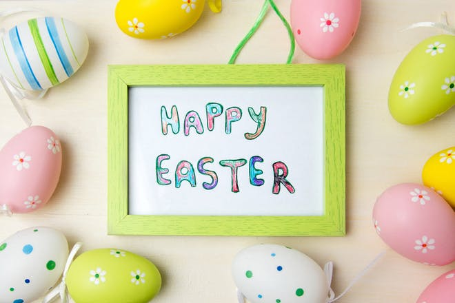 Easter card in frame with eggs