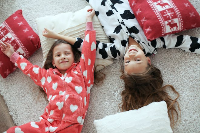 girls happy at sleepover