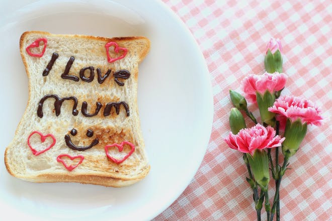 toast with writing on it and pink flowers