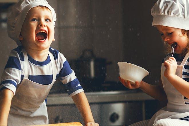 Kids baking in kitchen