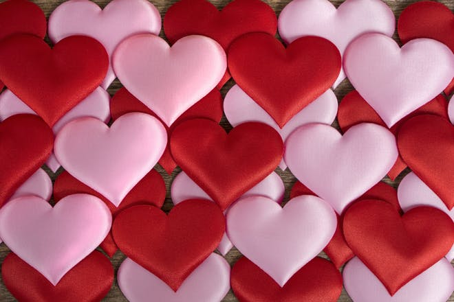 valentine's day pink and red hearts