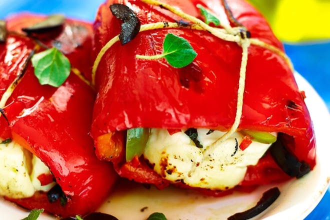 Red pepper and halloumi parcels