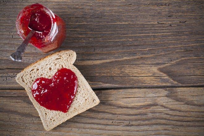 heart shaped jam on toast