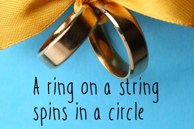rings tied with ribbon