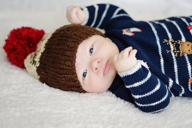 baby boy in festive hat