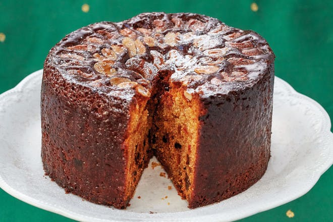 Malabar Christmas cake recipe. A delicious spiced Christmas cake topped with cashews by Indian chef Vivek Singh.