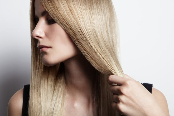 Woman with straightened hair