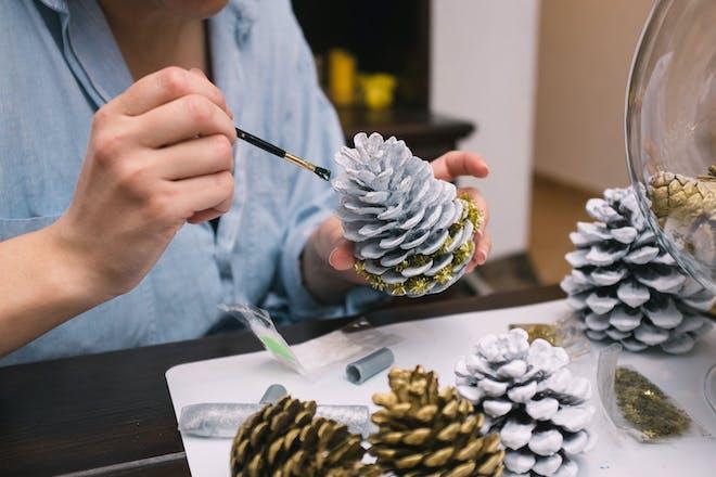 Pine cone decorating