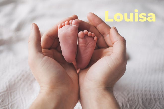 baby feet being cradled by adult hands. Name Louisa written in text