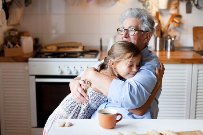 Grandparents grandchildren hugging