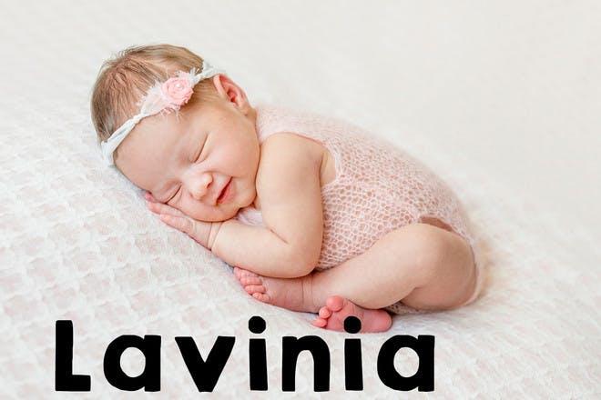 Baby girl sleeping and smiling