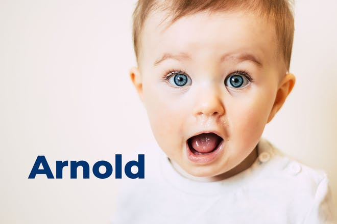 Baby pulling funny face. Name Arnold written in text